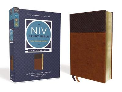 NIV Study Bible, Fully Revised Edition, Large Print, Leathersoft, Brown, Red Letter, Comfort Print