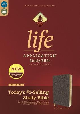 NIV, Life Application Study Bible, Third Edition, Bonded Leather, Navy Floral, Red Letter, Thumb Indexed